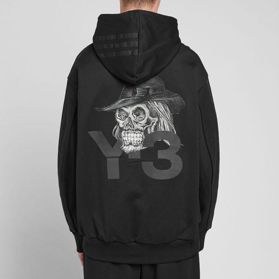 Y-3 Black Skull Hoodie Embroidered in Black