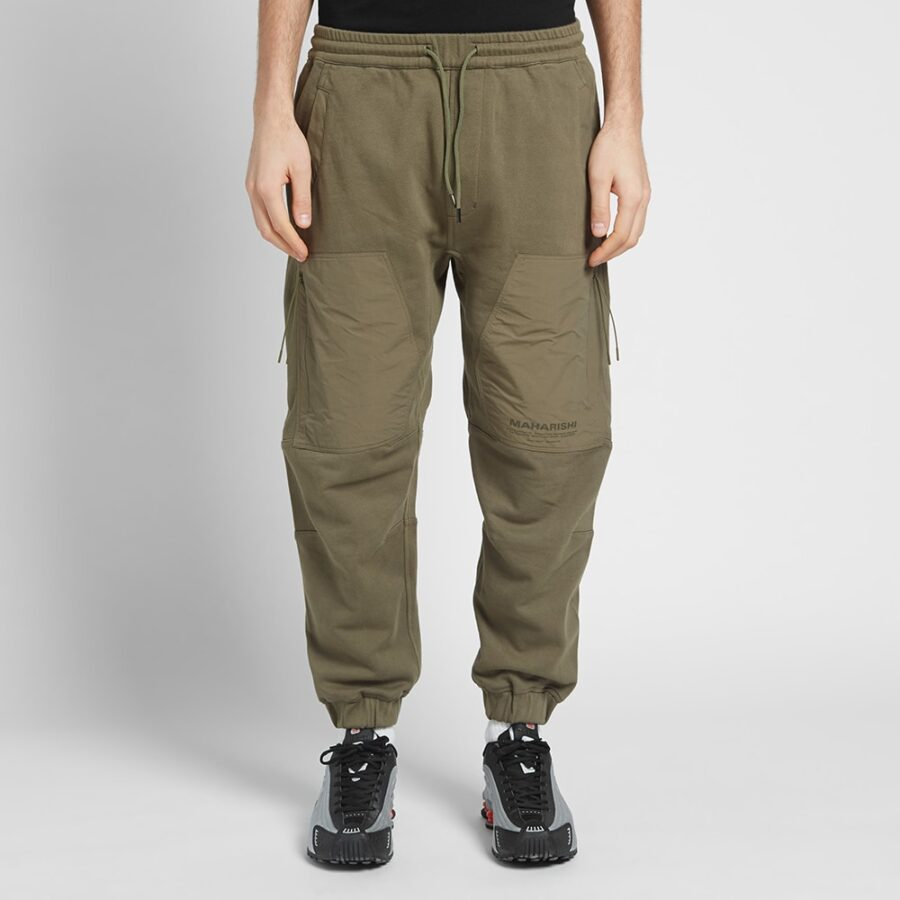 Maharishi Tech Cargo Sweatpants in Olive Green