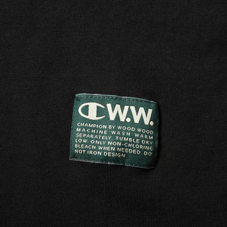 Champion x Wood Wood Box Logo T-Shirt in Black