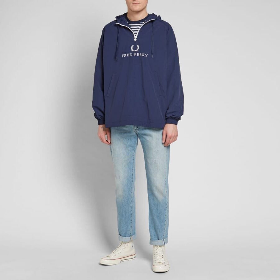 Fred Perry Embroidered Half-Zip Jacket 'Blue'