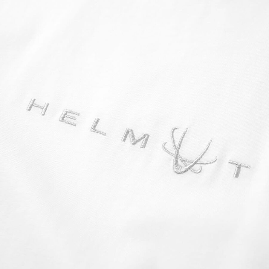 Helmut Lang 90s Logo Embroidered Tee in White