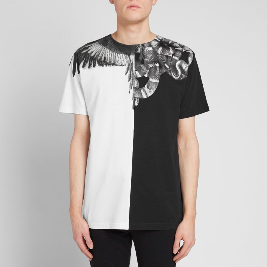 Marcelo Burlon Snakes & Wings T-Shirt in Black, White and Silver