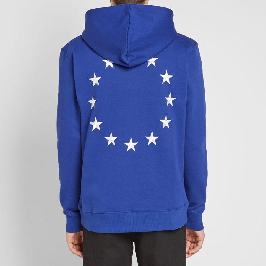 Etudes Klein Embroidered Europe Stars Hoodie in Cobalt Blue