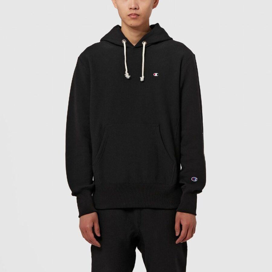 Champion Reverse Weave Hood Script Hoodie in Black