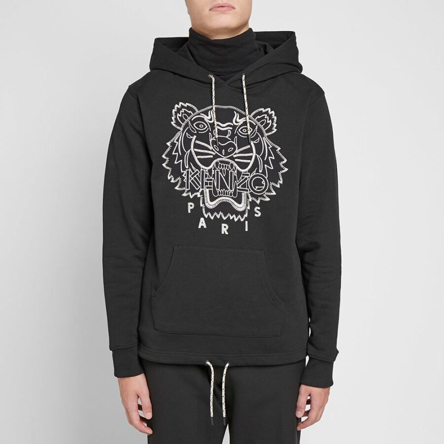 Kenzo Embroidered Tiger Hoodie in Black