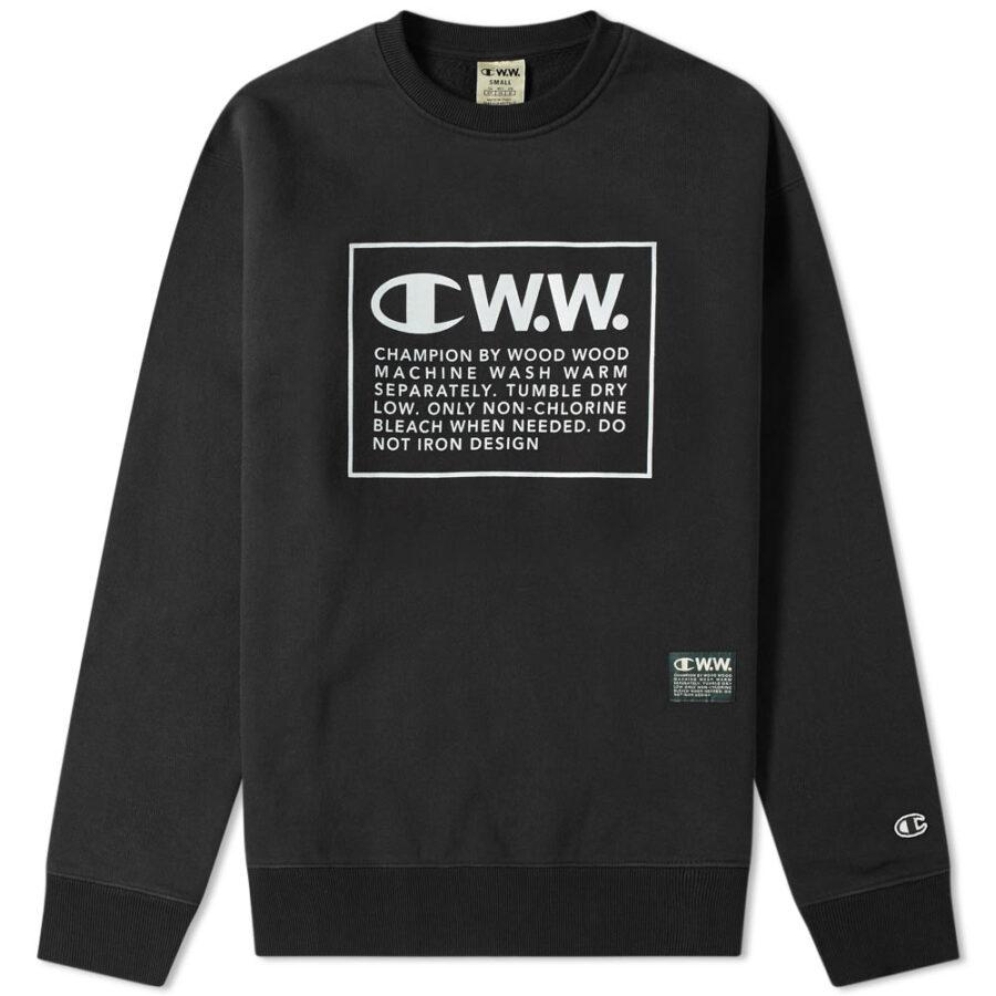 Champion x Wood Wood Box Logo Crewneck Sweatshirt 'Black'