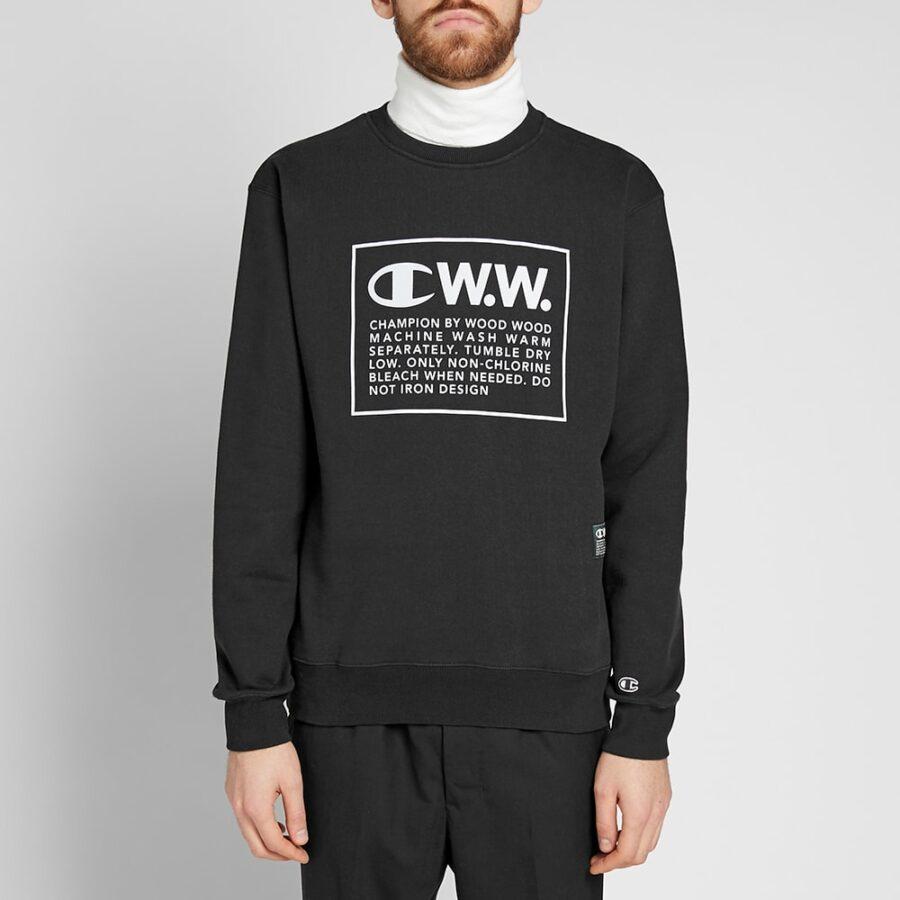 Champion x Wood Wood Box Logo Crewneck Sweatshirt in Black
