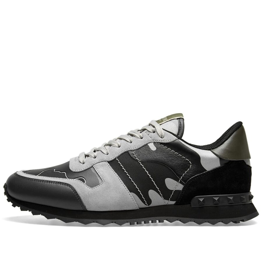 Valentino Rockrunner Sneakers in Black and Grey Camo