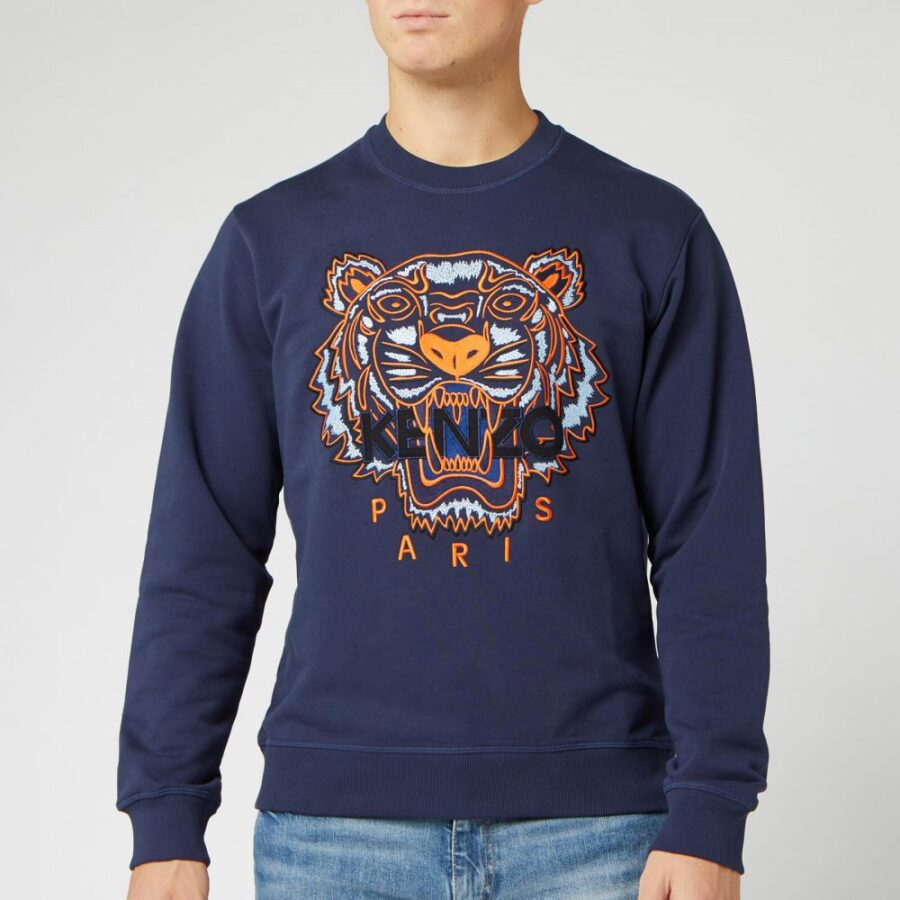 Kenzo Embroidered Tiger Crewneck Sweatshirt in Ink and Orange