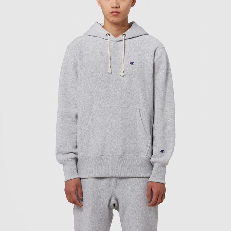Champion Reverse Weave Hood Script Hoodie in Grey