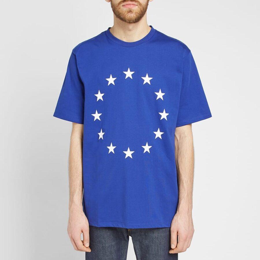 Etudes European Union Stars Printed T-Shirt in Cobalt Blue and White