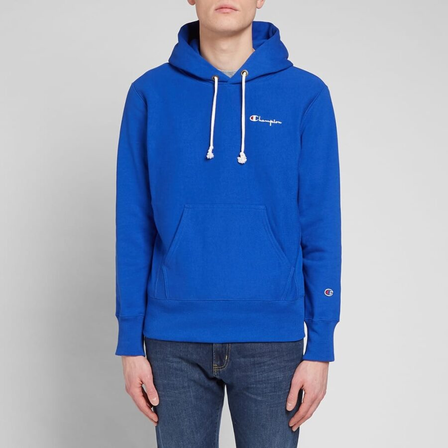 Champion Reverse Weave Small Script Hoodie in Royal Blue
