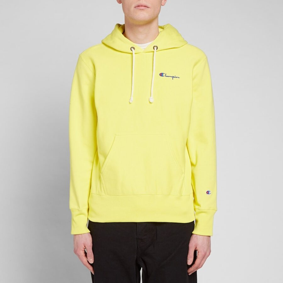 Champion Reverse Weave Small Script Hoodie in Yellow
