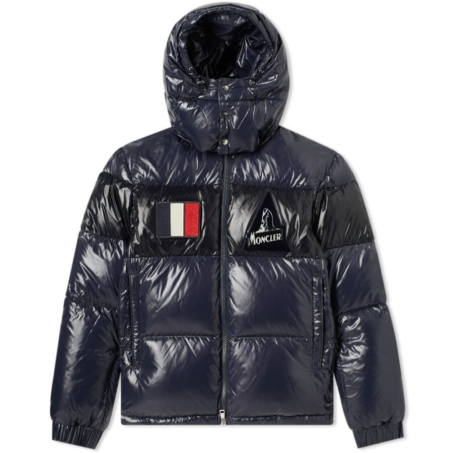 Moncler Gary Patch Hooded Down Jacket in Navy