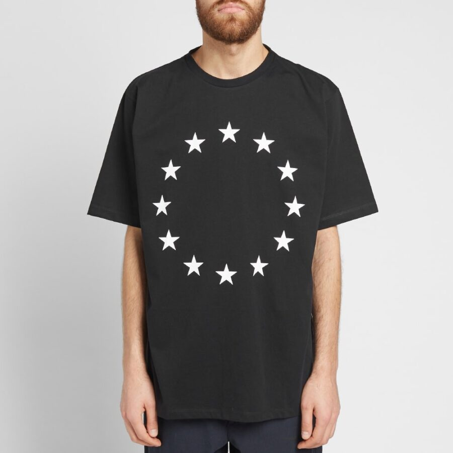 Etudes European Union Stars Printed T-Shirt in Black and White