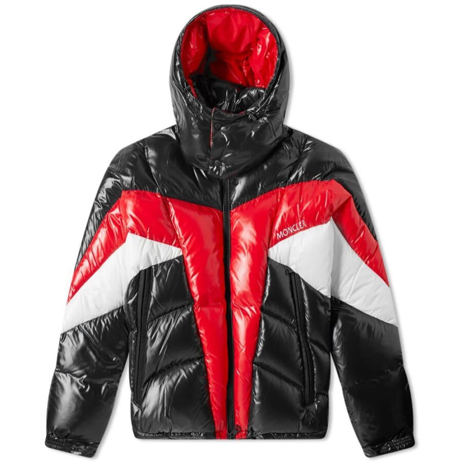 Moncler Anthime Color Block Padded Down Jacket in Black, Red and White