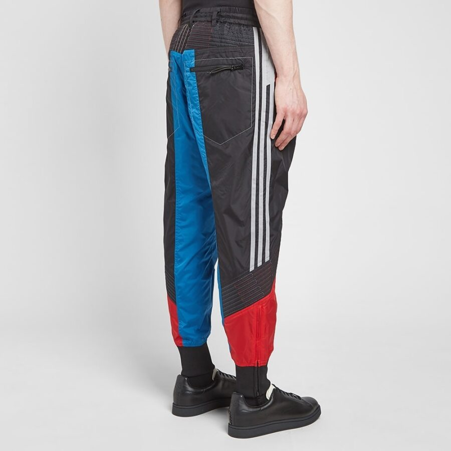 Y-3 Yohji Yamamoto Retro Block Shell Trackpants in Blue, Red and Grey
