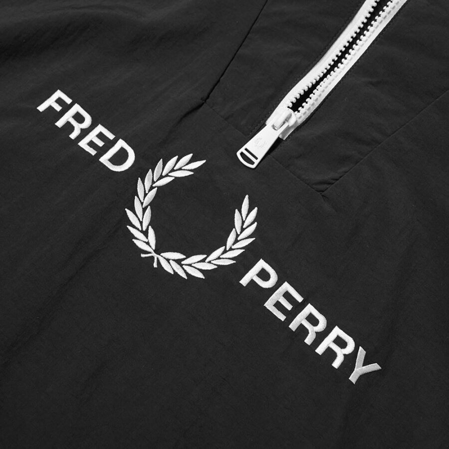Fred Perry Half-Zip Embroidered Ripstop Jacket in Black