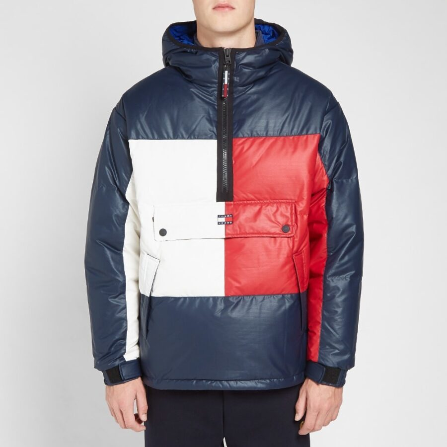 Tommy Jeans Flag Puffer Jacket in Navy, White and Red