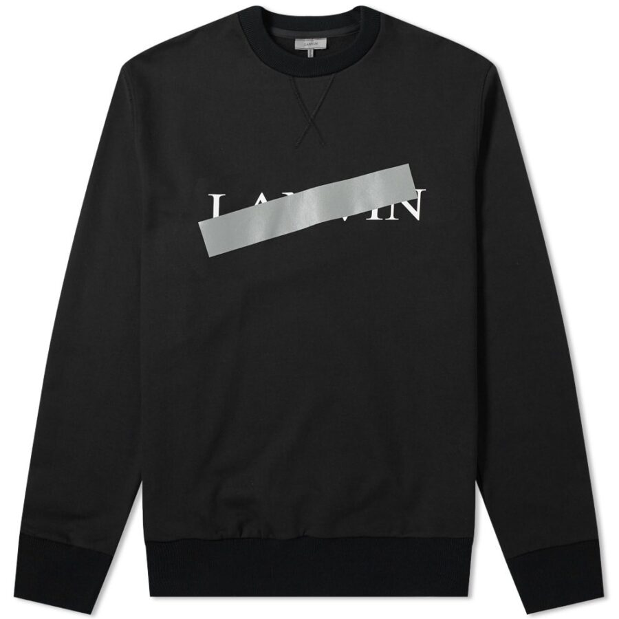 Lanvin Bar Logo Crewneck Sweatshirt in Black