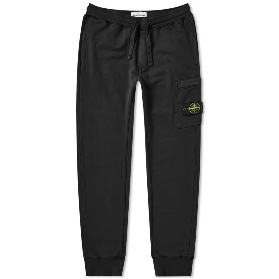 Stone Island Garment Dyed Cargo Sweatpants 'Black'