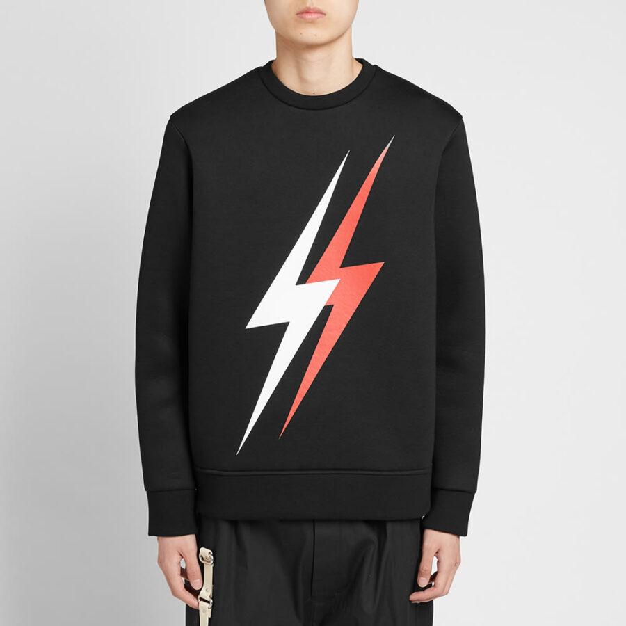 Neil Barrett Large 3 Lightning Bolt Sweatshirt 'Black & Red'