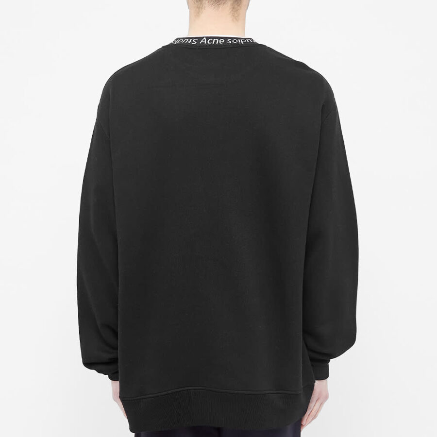 Acne Studios Fulton Logo Ribbed Crewneck Sweatshirt 'Black'
