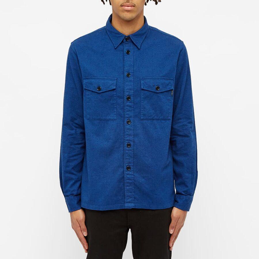 Paul Smith Brushed Cotton Overshirt 'Blue'