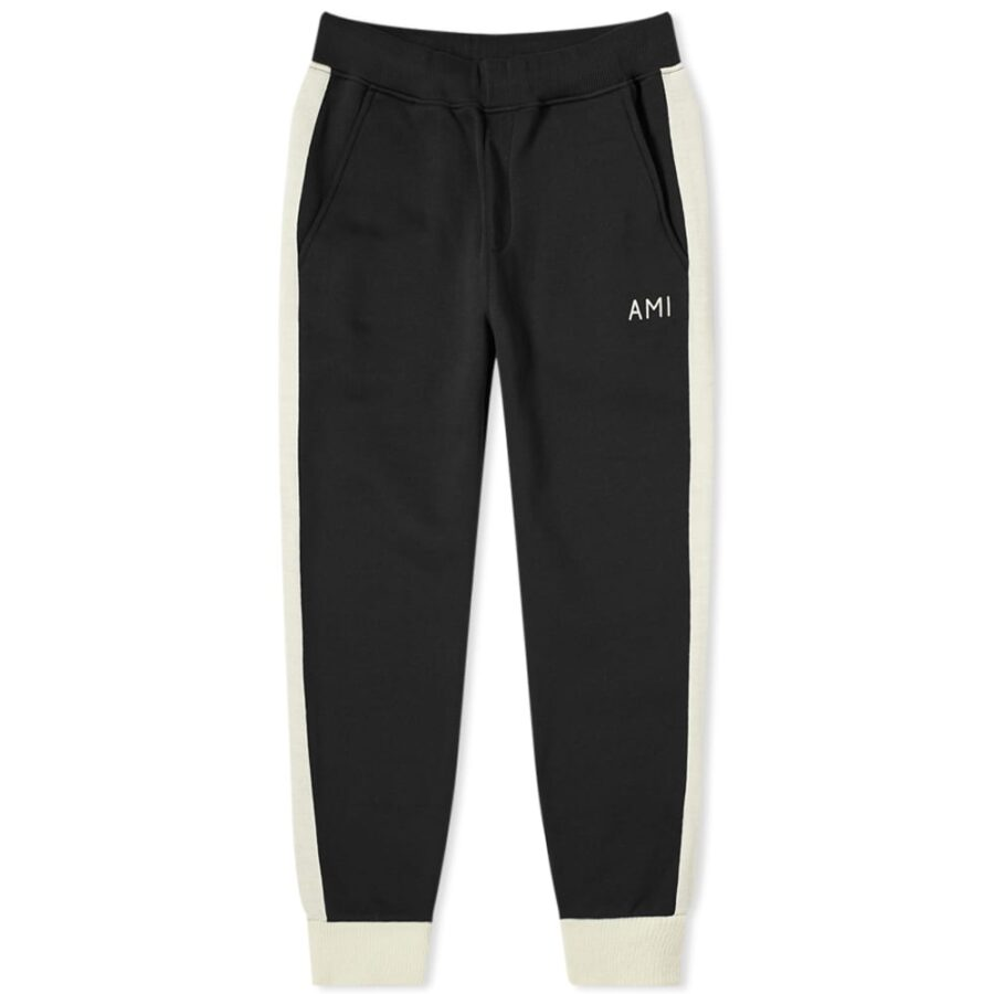 AMI Wool Band Trackpants 'Black & Ecru'