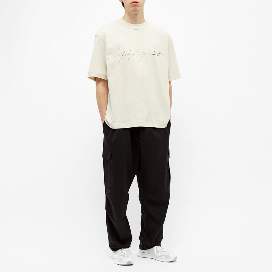 Y-3 Distressed Signature T-Shirt 'Ecru'