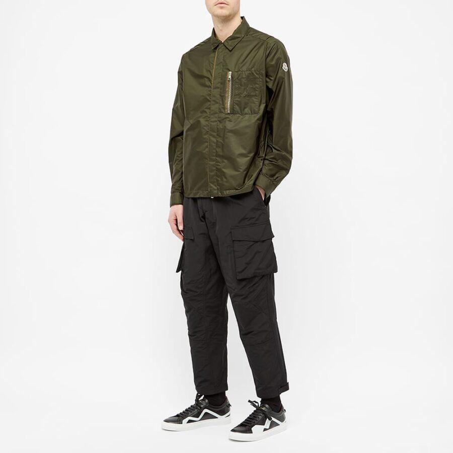 Moncler Nylon Logo Zip Pocket Overshirt 'Green'