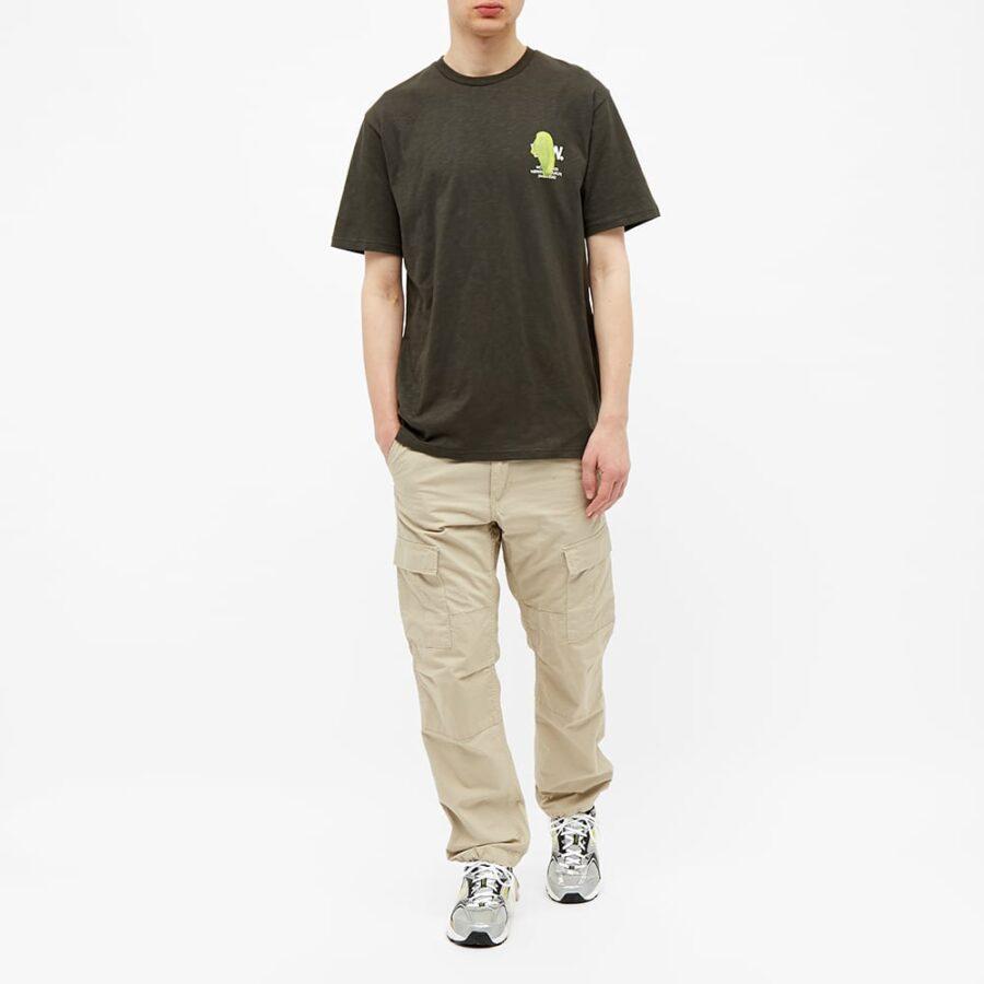Wood Wood Slater Smudge Logo T-Shirt 'Dark Green'