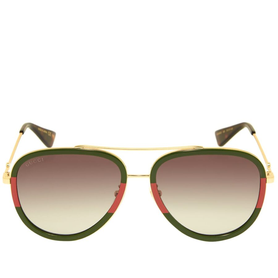 Gucci Sylvie Aviator Sunglasses 'Red, Green & Gold'