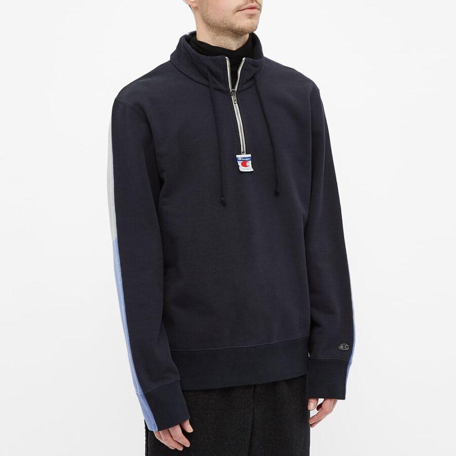 Champion x Craig Green Cut & Sew '90s Half-Zip Sweatshirt 'Black & Blue'