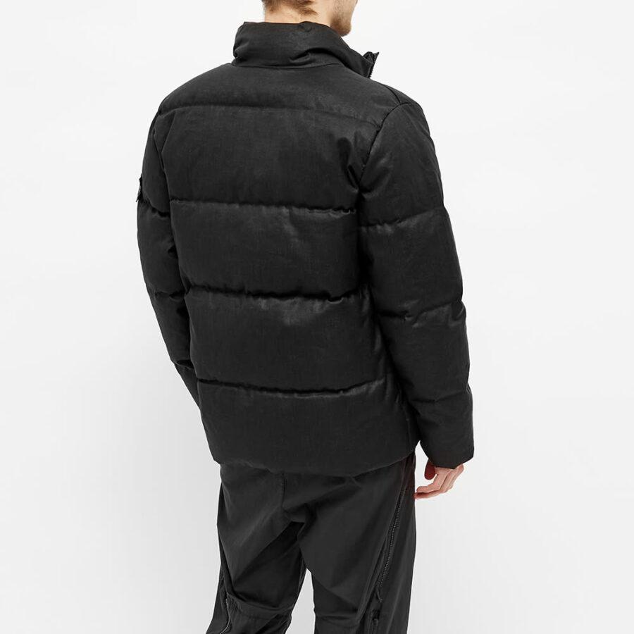 Stone Island Shadow Project Rubberised Linen Down Jacket 'Black'