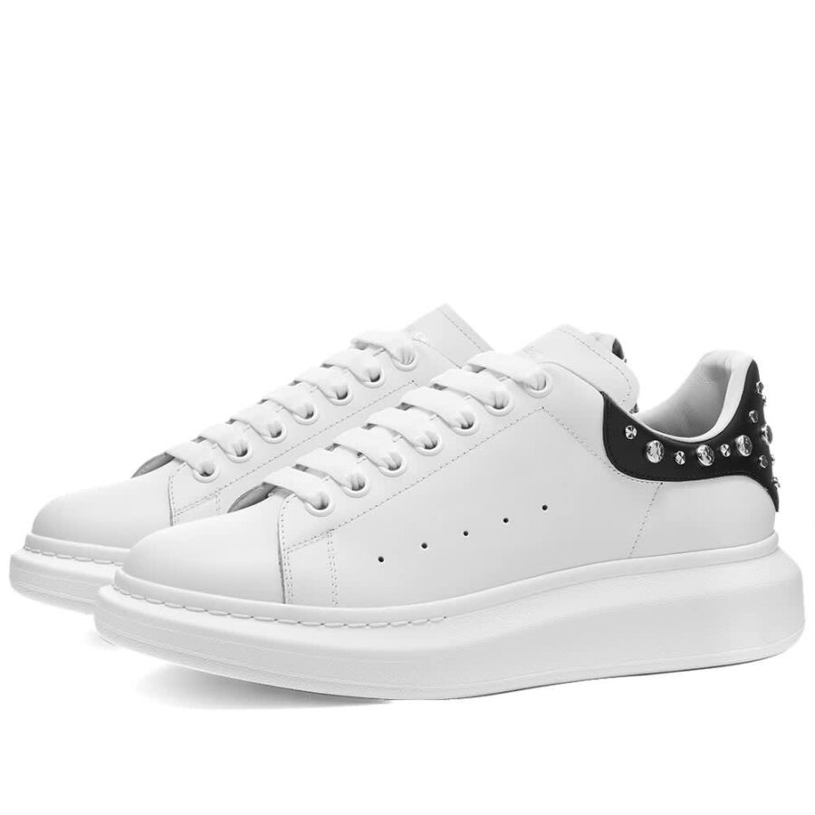Alexander McQueen Studded Wedge Sole Sneakers 'White & Black'