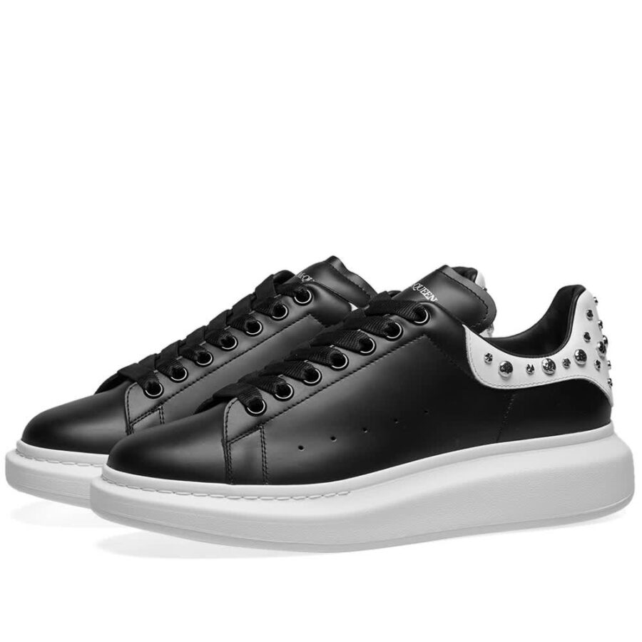 Alexander McQueen Studded Wedge Sole Sneakers 'Black & White'