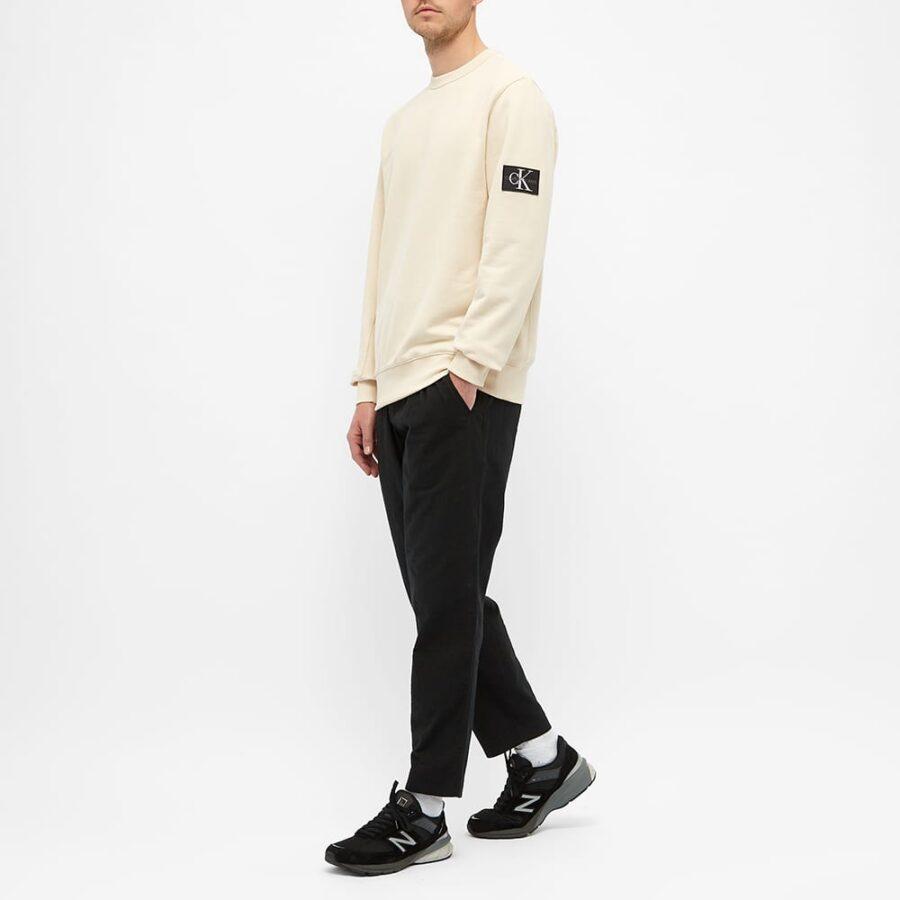 Calvin Klein Monogram Sleeve Badge Sweatshirt 'Tapioca'
