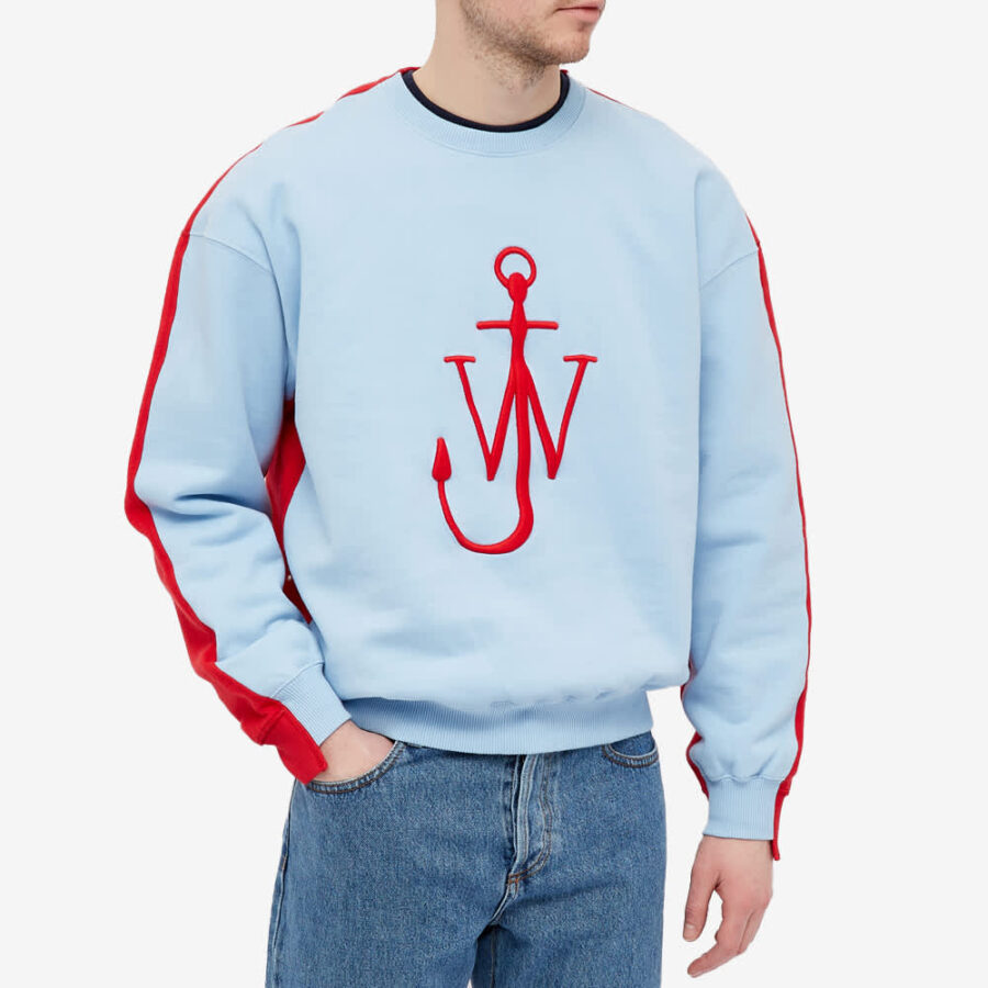 JW Anderson Deconstructed Fleece Back Sweatshirt 'Blue & Red'