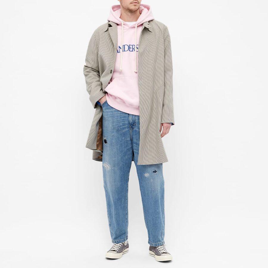 JW Anderson Deconstructed Fleece Back Hoody 'Pink & Blue'