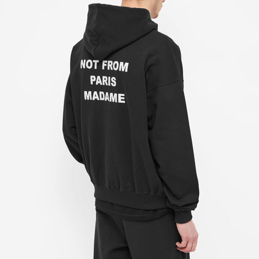 Drôle de Monsieur Back Print Slogan Hoody 'Black'