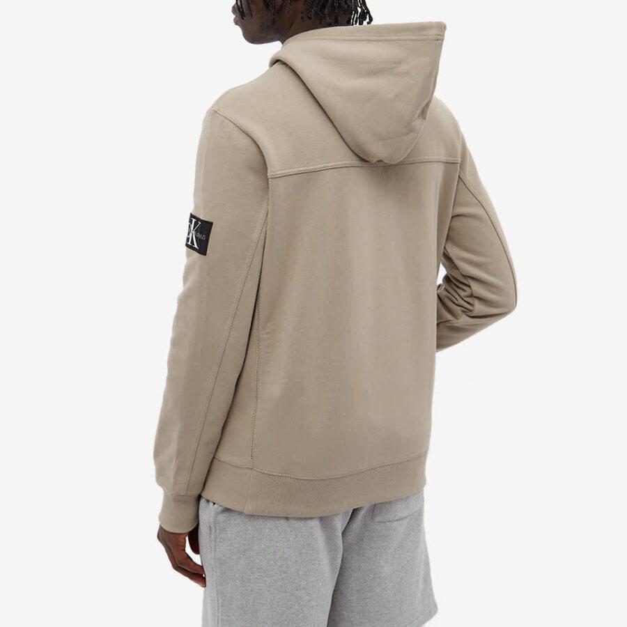 Calvin Klein Monogram Sleeve Badge Hoody 'Elephant Skin'